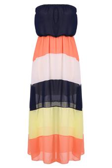 Maxi Beach Dress (Black/Orange/White) - picture 2