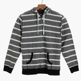 Maxwear Mens Striped Hoodie (Dark Gray)