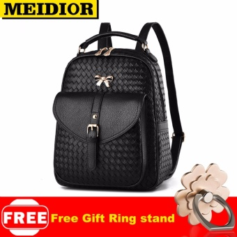 MEIDIOR Fashion Women PU Leather Backpack School Travel Girls Outdoor Bag Rucksack Black 045