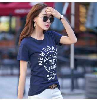 Meiyulequ Korean-style slub cotton new lettered T-shirt (Dark blue color) (Dark blue color)