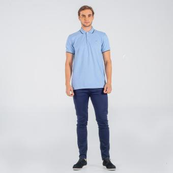 Memo Polo Shirt With Tipping (Light Blue)