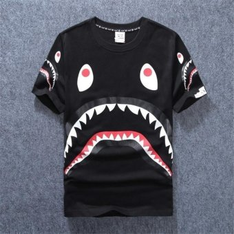 Men and Women Summer Fashion Shark Bape O-neck Short Sleeves T-shirt Adult Lovers Clothes (Black, White) - intl