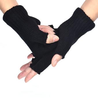 Men Black Knitted Stretch Elastic Warm Half Finger Fingerless Gloves - 3