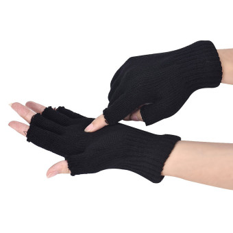 Men Black Knitted Stretch Elastic Warm Half Finger Fingerless Gloves