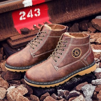 Men Boot Handmade Genuine Leather Shoes Winter Warm Snow Boots Plus Cotton Mens Shoes (Brown) - intl