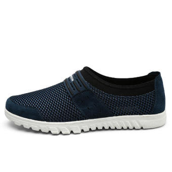 Men Breathable Mesh Lace-Ups Low Cut Sneakers-Dark Blue - picture 2