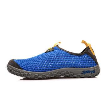 Men Breathable Mesh Sport Lace-Ups Low Cut Sneakers-Navy Blue - picture 2