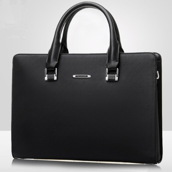 Men Business Tote Bag Men's Single Shoulder Bag Wear-resistingBriefcase (Black / + One Clutch)