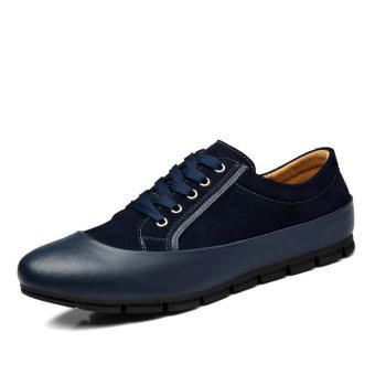Men Casual Fashion Leather Brogues Lace-Ups Flat Shoes-Dark Blue - picture 2