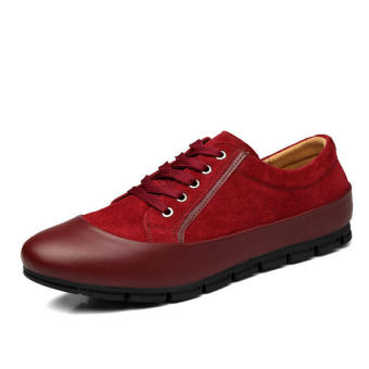 Men Casual Fashion Leather Brogues Lace-Ups Flat Shoes--Red