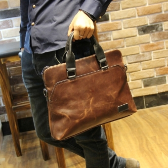 Men Casual Handbag Satchel Bag Computer Bag Business Tote Bag CrazyHorse Leather Portable Bag (Coffee)