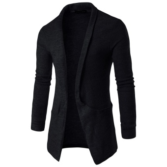 Men Casual Knitted Cardigans Slim Cardigan Sweater(Black) - intl