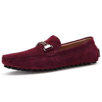 Men Casual Leather Driving Loafers - Red