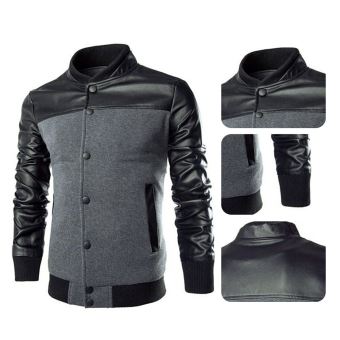 Men Casual Leather Sleeves Jacket (Grey) - 5
