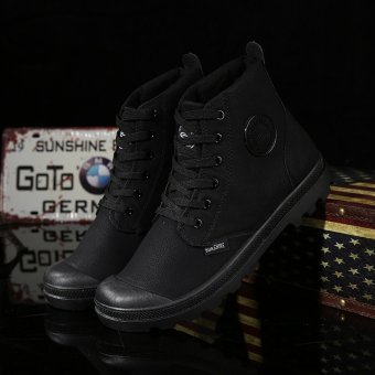 Men Casual Martin Boots Ankle Boots High-Cut Sneakers(Black) - intl - 2