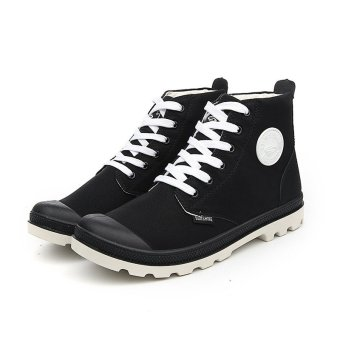 Men Casual Martin Boots Ankle Boots High-CutSneakers(Black&white) - intl