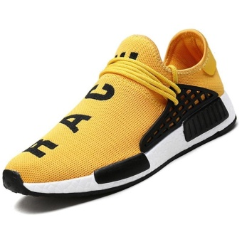 Men Casual New Fashion Shoes Lightweight Breathable Air Mesh Trainers Flat Casual Human Race Mens Shoes (Yellow) - intl
