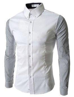 Men Casual Shirt Striped Splicing Long Sleeve Tops White