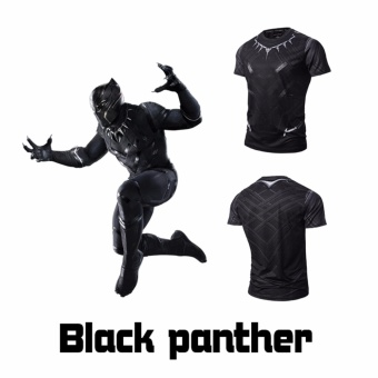 Men Compression Shirt Marvel Comics Superhero Black Panther MuscleFit Tee Shirts Fitness Clothing - intl