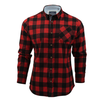 Men Cotton Plaid Casual Shirts (Red-Black)