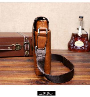 Men Cowhide Leather Crossbody Bag Shoulder Bag Messenger Bag Portable Briefcase Business Casual Tote Bag(Khaki) - 3