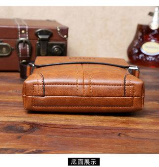 Men Cowhide Leather Crossbody Bag Shoulder Bag Messenger Bag Portable Briefcase Business Casual Tote Bag(Khaki) - 5