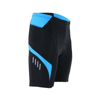 Men Cycling Jersey Set Short Sleeve Suit Bike Bicycle T ShirtsShorts Gel Padded Summer - Blue - 5