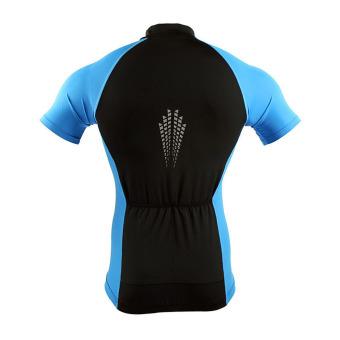 Men Cycling Jersey Set Short Sleeve Suit Bike Bicycle T ShirtsShorts Gel Padded Summer - Blue - 3