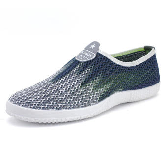 Men Fashion Breathable Mesh Sport Bicolor Low Cut Sneakers-Grey