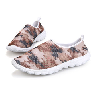 Men Fashion Camouflage Mesh Flat Shoes - Brown