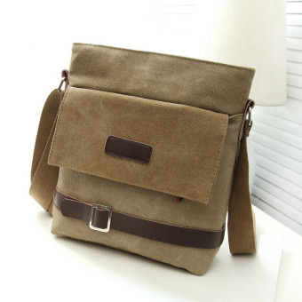 Men Fashion Canvas Casual Bag HandBag Shoulder Bags Khaki