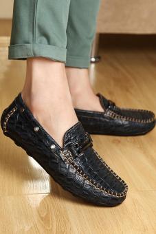 Men Fashion Crocodile striae Leather Loafers - Black - picture 3