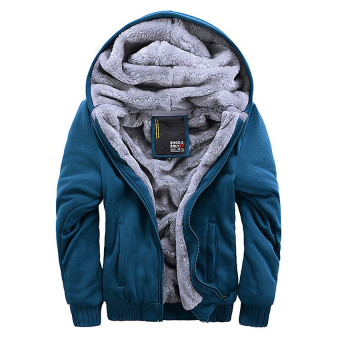 Men Fashion Hooded Thick Thermal Plus Size Winter Jackets(Blue) -intl