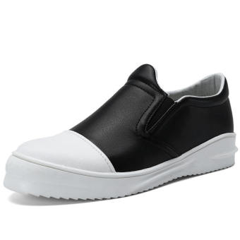 Men Fashion Leather Loafers - Black and White