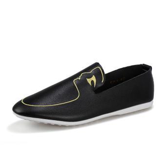 Men Fashion Pattern Loafers - Black