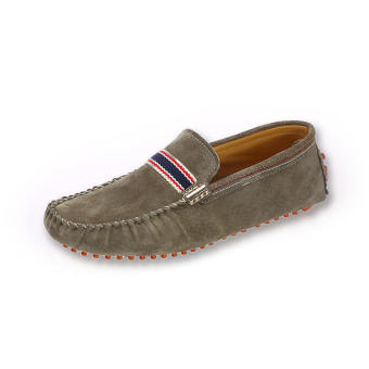 Men Fashion Seasons Leather Loafers - Khaki