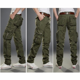 Men Fashion Solid Cotton Cargo Pants Casual Trousers Size 29-36(Army Green) - intl - 2