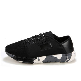 Men Fashion Trend Camouflage Low Cut Sneakers-Black - picture 2
