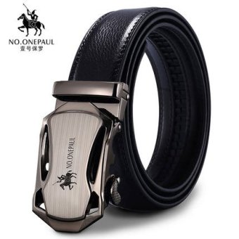 Men Genuine Leather Belt for Men with Automatic Buckle Business Suit/ Jeans Belt 3.5cm Width 130cm Length Can Be Cut (Matte Gray) Gift for Father - intl