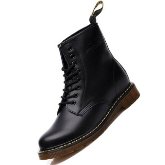 Men Genuine Leather High-top Martin Boots Waterproof Ankle Boots (Black) - intl