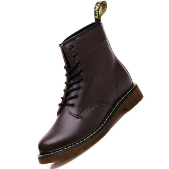 Men Genuine Leather High-top Martin Boots Waterproof Ankle Boots (Brown) - intl