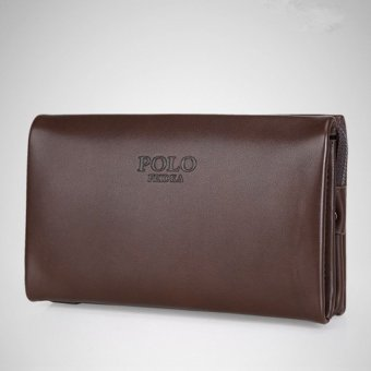 Men Handbag Cowhide Leather Clutch Large Capacity Wallet CasualWrist Bag Business Purse (Big Size Brown)