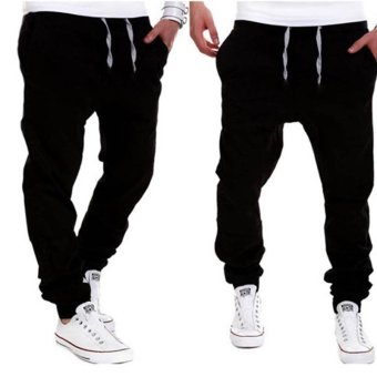 Men Joggers Sport Pants New Outdoor Hip-hop Drop Crotch Harem Sweat Trousers Sportswear (XL& black) - intl