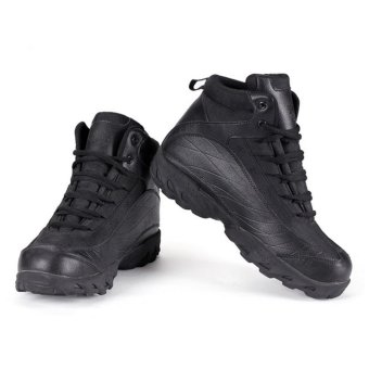 Men Jungle Desert Outdoor Combat Boots Military Tactical Hiking Shoe(Black) - intl - 2