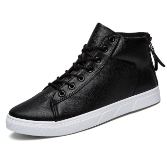 Men Leather High-top Shoes Winter Boots Ankle Boots,Black - intl