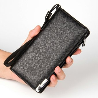 Men Long Genuine Cowhide Leather Wallet Zipper Purse Youth Clutch Multifunctional Male Mobile Phone Bag (Black) ...