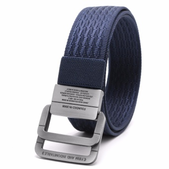 Men Military Equipment Tactical Canvas Belt Fashion Double RingBuckle Waistband - intl