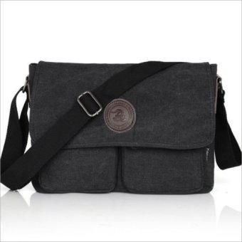 Men Military Vintage Canvas Satchel School Shoulder Messenger Bag Black - intl
