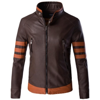 Men Motorcycle PU Leather Jackets Overcoat M-5XL - intl