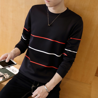 Men New style student hoodie T-shirt (Three striped-black)